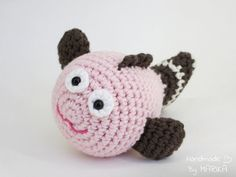 Amigurumi fish rattle baby toy, - organic cotton stuffed toy - pink and purple