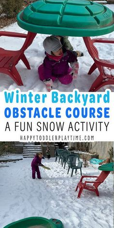 The Best Winter Backyard Obstacle Course for Kids - HAPPY TODDLER PLAYTIME A super fun outdoor winter activity! Outdoor Activities For Toddlers, Snow Activities, Winter Activities For Kids, Gross Motor Activities, Steam Activities, Sensory Activities, Preschool Activities, Backyard Obstacle Course, Kids Obstacle Course