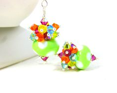 Colorful Crystal Earrings Polka Dot Earrings by GlassRiverJewelry, $38.00