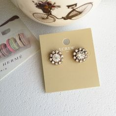 J. Crew studs J. Crew factory round crystal studs. Size smaller than a dime. J. Crew Jewelry Earrings