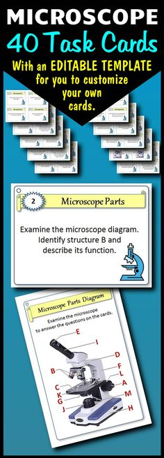 If you need a fun way to review the parts and functions of the microscope, this task card set will do the trick.  Have students work in groups, have them use them in lab stations, or give them to early finishers.  An editable template is provided for you to add your own questions.
