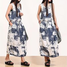 Ink blue print dress / national wind round neck by dreamyil, $108.00
