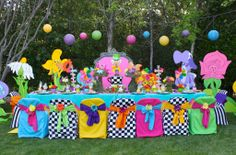 Alice in Wonderland - Mad Hatter party table exclusively designed by:  WONDERLAND PARTY PROPS Prop rental and table decorating available :  ( 661 250-8164 )