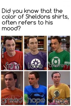 Image result for sheldon's shirts color meaning