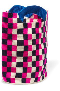 Sophie Anderson - Mila Checked Woven Tote - Pink