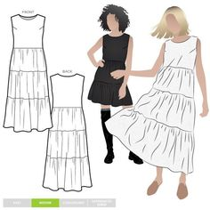 The Nova Midi Dress sewing pattern from Style Arc is a slip on sleeveless tiered dress that has a Boho inspired look, it's perfect for spring and summer. Summer Dress Patterns, Dress Making Patterns, Sewing Summer Dresses, Sewing Dresses For Women, Teen Dresses, Midi Dresses, Club Dresses, Pdf Sewing Patterns, Clothing Patterns