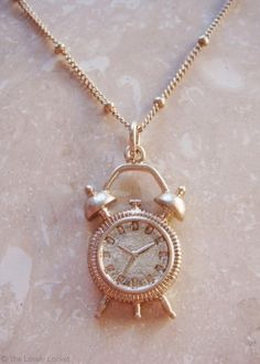 The Time is Now Necklace | Gold Alarm Clock Watch Golden Swiss Dotted Chain Pendant | The Lovely Locket