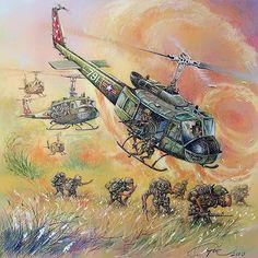 """ARVN Rangers air assault"" Military Art, Military History, Military Drawings, Vietnam War Photos, Airplane Art, Art Folder, Aviation Art, Sketches, Illustration"