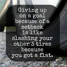 Giving up on a goal because of a setback is like slashing your other 3 tires because you got a flat.