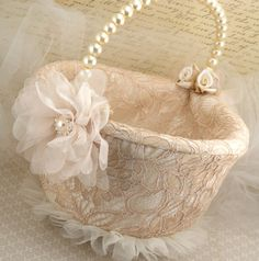Flower Girl Basket  Bridal Basket in Champagne Nude by SolBijou, $140.00