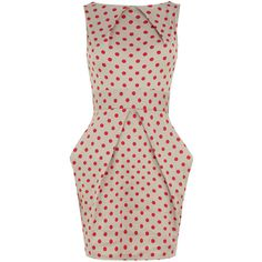 Red spot print tie back dress ($79) ❤ liked on Polyvore