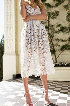 "White Lace Dresses under $100 ""Minka"" White Crochet Lace Fit and Flare Midi Dress"