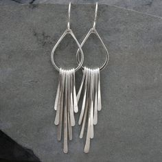 Falling Rain Sterling Silver Earrings Solid Silver by KiraFerrer $52.00