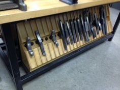 stake holder, good use of under bench space. Love this!