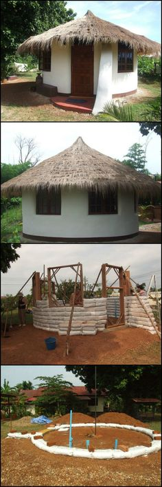 How To Build An Earthbag Round House http://theownerbuildernetwork.co/dwj0 This interesting home is made from earthbags. Aside from being durable structures, earthbag homes are also cheap. Bags can be filled with either dirt from the property itself, or other available sources. It can be built practically anywhere in the world.