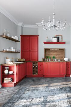 Schon immer beliebt in den Südstaaten Amerikas, sind die Küchen im Farmhouse-Stil, in kräftigen und satten Farben. Hier werden Küchenfronten, in intensiven Farben wie Schwarz, Grau oder Blautönen gewählt und mit schweren Holzarbeitsplatten kombiniert. Ebenfalls sehr beliebt sind Nischenrückwände mit auffälligen Mustern. Modern, Buffet, Storage, Furniture, Home Decor, Grey, Black, Rich Colors, Home Kitchens