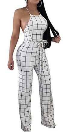 028df12f0fe1 Fensajomon Womens Casual Plaid Printed Bandage Back Cross Spaghetti Strap Romper  Jumpsuits
