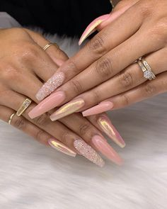Coffin Nails Inspiration: 35 Gorgeous Coffin Shaped Nails : Peach and Glitter na. - Coffin Nails Inspiration: 35 Gorgeous Coffin Shaped Nails : Peach and Glitter nails Perfect Nails, Gorgeous Nails, Pretty Nails, Best Acrylic Nails, Acrylic Nail Designs, Coffin Nail Designs, Glam Nails, My Nails, Glitter Nails