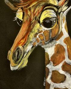 Baby Giraffe 9x12 canvas Acrylic