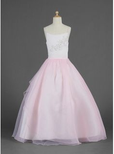 Ball Gown Floor-length Flower Girl Dress - Organza Sleeveless Scoop Neck  With Lace Beading Sequins 50a7d06b4807