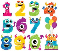 Alpha Monster Numbers 1 / Monster Clipart by MyClipArtStore Monster Party, Monster Birthday Parties, Monster Clipart, Baby Clip Art, Ideias Diy, Cute Monsters, Birthday Balloons, Cake Birthday, First Birthdays