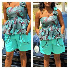 Sage And Black African Ankara One Shoulder Shorts Set, African Dress, Ankara Print Short Set,