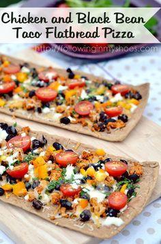 Chicken and Black Bean Taco Flatbread Pizza