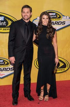 Ricky Stenhouse Jr. and Danica Patrick arrive at The NASCAR Sprint Cup Series auto racing awards ceremony. (Eric Jamison/AP)