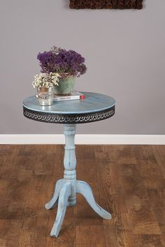 cottage table trimmed in bronze metal