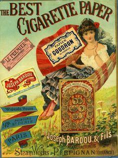 the best cigarette paper Auteur - Exécutant : Bardou Joseph, fils (fabricant) Old Advertisements, Retro Advertising, Retro Ads, Advertising Signs, Vintage Tins, Vintage Market, Vintage Labels, History Of Tobacco, Retro Vintage
