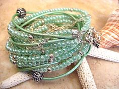 """Boho Chic Endless Leather Wrap Beaded Mint Julep Chain Bracelet with Silver Accents...Adjustable.""""FREE SHIPPING""""  by LeatherDiva, $39.00"""
