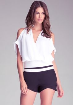 Bebe Embroidered Surplice Top in White   Lyst