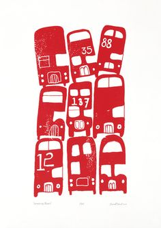 'Stacking Buses' - hand pulled, limited edition, screen print by biroRobot.