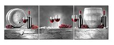 3 Pieces Modern Canvas Painting Wall Art The Picture For Home Decoration Red Grape Wine Barrel Bottle Goblet In Black White And Red Wine Print On Canvas Giclee Artwork For Wall Decor -- See this great product.