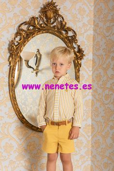 0178bf82a Dolce Petit moda infantil · Conjunto de niño en color mostaza de pantalón  corto y camisa blanca con rayas mostaza