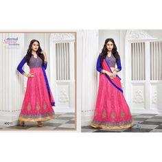 SemiStitched -Blue With Pink color Eternal Sense Sensibility 2 in 1 Designer lehanga choli - By Thambi shopping