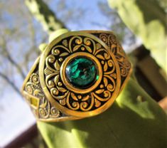 Excited to share the latest addition to my #etsy shop: Vintage Gold Etched Cuff Bracelet Green Glass Cabachon Jewelry Gift Idea St Patricks Day http://etsy.me/2HlR3ew #jewelry #bracelet #gold #glass #no #women #green #geometric #stpatricksday