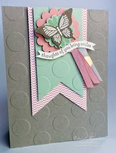 "Polka Dot Pieces ; Elegant butterfly punch ; 2 3/8"" Scallop circle punch ; 1 3/4"" Scallop Circle punch ; Banner framelits"