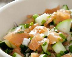Salade de saumon fumé, pomme et concombre : http://www.fourchette-et-bikini.fr/recettes/recettes-minceur/salade-de-saumon-fume-pomme-et-concombre.html