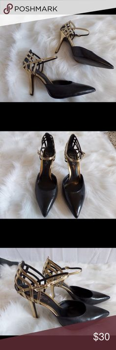 NIB Fergie Gardenia Black Gold Cage Heels Business in front...party in the back! Black closed toe pump with gold cage heel. Single ankle strap. 4 inch heel. Never worn. Smart and sexy shoe from the 'glamourous' Fergie. Fergie Shoes Heels