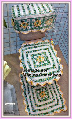 Alkimia: JOGO DE BANHEIRO DE CROCHÊ COM GRÁFICO Crochet Kitchen, Crochet Home, Crochet Crafts, Diy Crafts, Filet Crochet, Knit Crochet, Carpet Design, Bathroom Sets, Potpourri