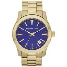 MICHAEL KORS Ladies' Runway Goldtone Watch with Blue Dial
