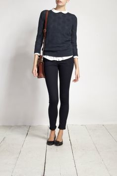 white peter pan blouse + navy sweater + black ankle pants + ballet flats