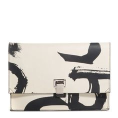 PROENZA-SCHOULER-Lambskin-Small-Printed-Lunch-Bag-Clutch-Black-White