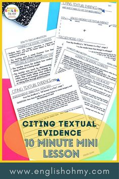 Citing textual evidence can be a challenge for middle school ELA students, and even high school ELA students. These Citing Textual Evidence Activities and Mini Lesson, will help your students learn how to properly cite text with the correct formatting and punctuation. |Middle School English Language Arts| Citing Evidence Middle School | Text-Based Evidence Activities