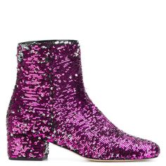 Chiara Ferragni Glittered Leather Boots (1.820 RON) ❤ liked on Polyvore featuring shoes, boots, fuxia, leather ankle boots, short flat boots, leather sole boots, short leather boots and flat ankle boots