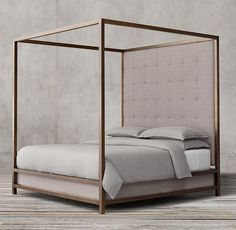 RH's Montrose Tufted High Panel Four-Poster Bed:Inspired by the streamlined glamour of the late 20th century, our four-poster bed pairs a sleek, bronze-finish metal frame with a tufted headboard for a clean, angular silhouette.
