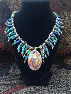 Egyptian Lapis Turquoise Raku Scarab Pendant Necklace - Freshwater Pearls Porcelain and Brass - Nefertari