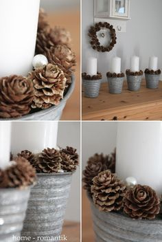 Pinecones in tin buckets for the perfect Scandinavian winter look. Light it with Candle Impressions LED candles so wax doesn't drip on the pine cones! Noel Christmas, Christmas Is Coming, Rustic Christmas, Christmas And New Year, Winter Christmas, Christmas Crafts, Advent Candles, Diy Candles, 242