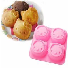 4 Even Facial Expressions KT Hello Kitty Cake Cadillac Owl Kitchen Baking Chocolate Mold Silicone Mold //Price: $5.46 & FREE Shipping // #hashtag1